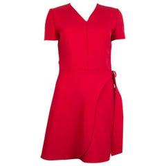 CHRISTIAN DIOR red wool SHORT SLEEVE WRAP Dress 36