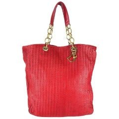 Christian Dior Red Woven Leather Soft Large Tote Bag
