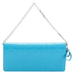 Christian Dior Rendez Vous Chain Wallet Cannage Embossed Patent
