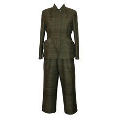 Christian Dior Resort 2020 Khaki Silk Jacket and Capri Pantsuit