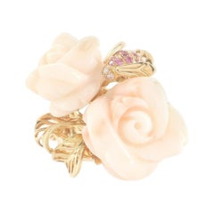 Christian Dior Rose Dior Pre Catelan Ring 18k Yellow Gold and Coral with Pink