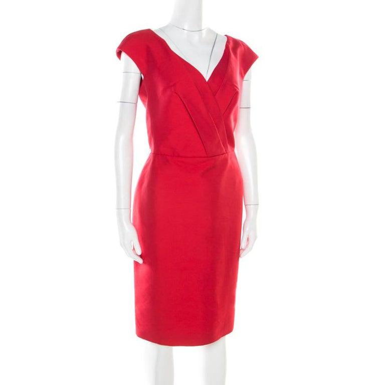 Christian Dior Rouge Red Cotton Silk Pleated Bodice Sleeveless Sheath Dress L In Good Condition For Sale In Dubai, Al Qouz 2