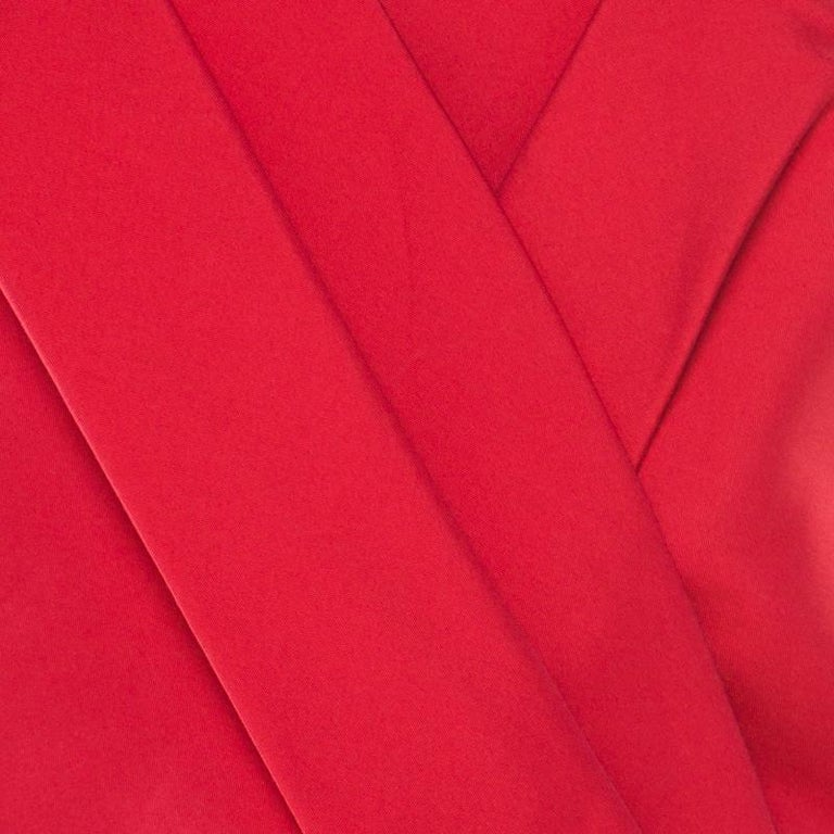 Christian Dior Rouge Red Cotton Silk Pleated Bodice Sleeveless Sheath Dress L For Sale 2