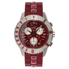 Christian Dior Ruby Red Christal Chronograph Quartz Watch CD11431BR001