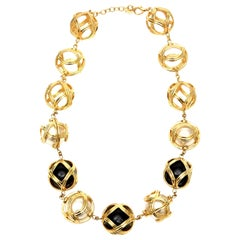 Christian Dior Runway Ball Necklace With Black Resin And Faux Pearl Vintage