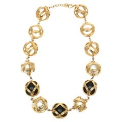 Christian Dior Runway Ball Necklace With Resin, Faux Pearl and Gold Plate