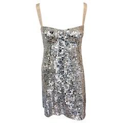 Christian Dior Runway Embellished Logo Silver Mini Dress