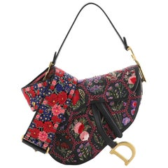Christian Dior Saddle Bag Embroidered and Beaded Leather Medium