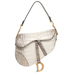 Christian Dior Saddle Bag Medium Matte Niloticus Himalayan Aged Gold Hardware
