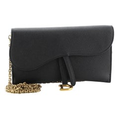 Christian Dior Saddle Chain Wallet Leather