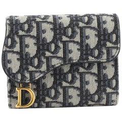 Christian Dior Saddle Flap Wallet Oblique Canvas Mini
