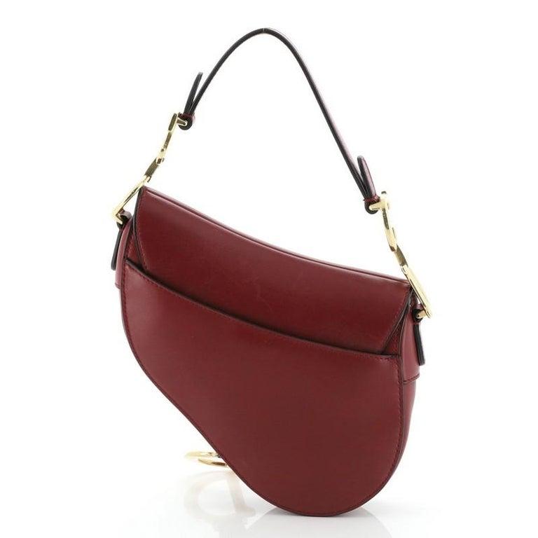 Women's or Men's Christian Dior Saddle Handbag Leather Mini  For Sale