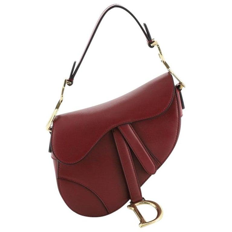 Christian Dior Saddle Handbag Leather Mini  For Sale