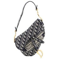 Christian Dior Saddle Handbag Logo Embroidered Oblique Canvas Medium