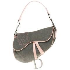 Christian Dior Saddle shoulder bag in blue denim and pink patent leather