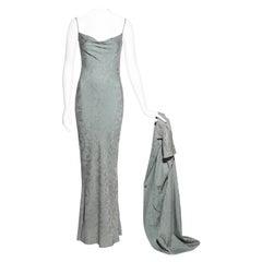 Christian Dior sage silk jacquard evening dress and jacket set, ss 1998