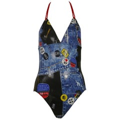 Christian Dior Shiny Wet Look Trompe L'oeil Denim Print One-Pïece Swimsuit