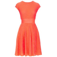 CHRISTIAN DIOR shocking neon pink scallop textured knitted fit flare dress FR36