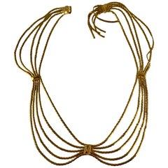 Christian Dior Signed 1960s Snake Chain Gold-Tone Metal Graceful Swag Belt