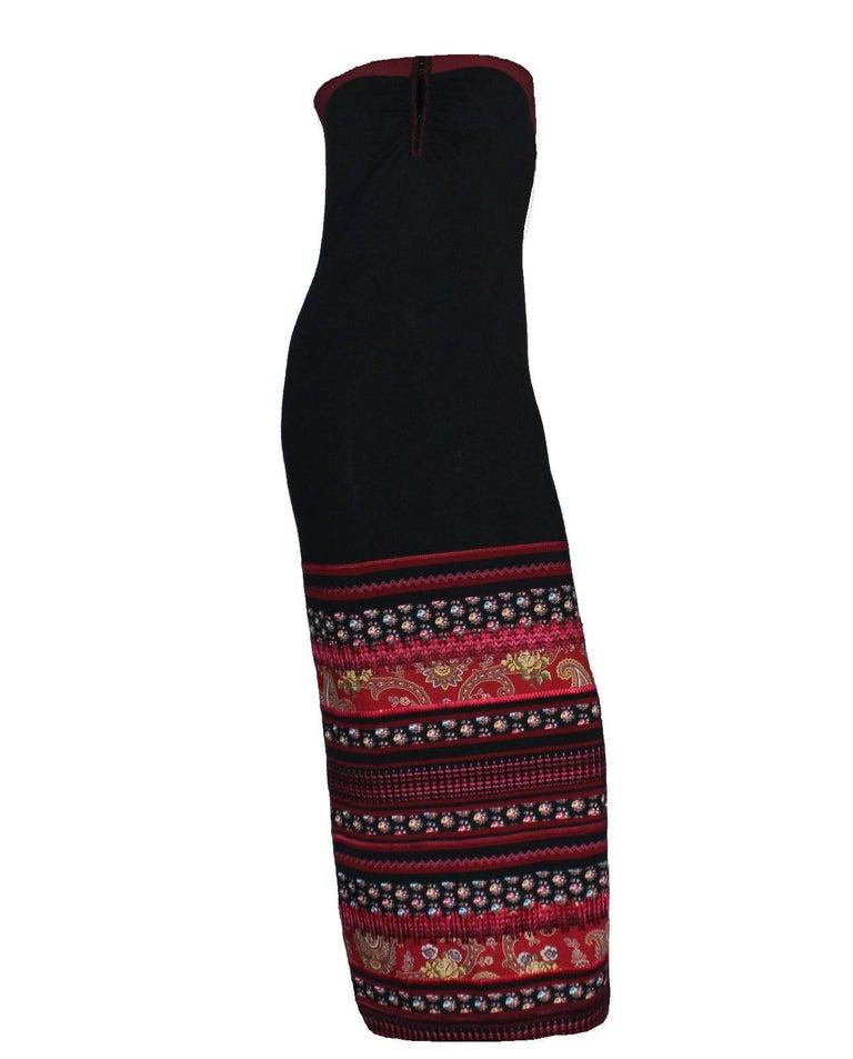 Black Christian Dior Silk & Cashmere Strapless Peek-a-boo Evening Dress Gown For Sale