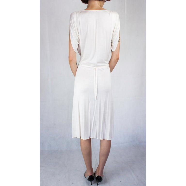 Women's Christian Dior silk jersey dress with openwork front . circa 1970s For Sale