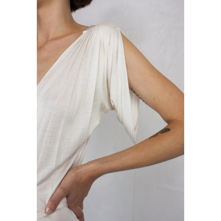 Christian Dior silk jersey dress with openwork front . circa 1970s For Sale 2