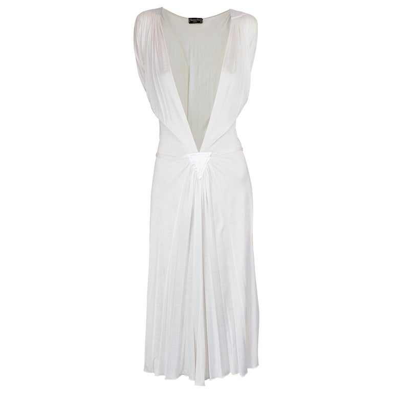 Christian Dior silk jersey dress with openwork front . circa 1970s For Sale