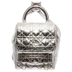 Christian Dior Silver Cannage Leather Stardust Backpack
