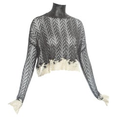 Christian Dior silver crochet knit sweater with cream lace, fw 1998