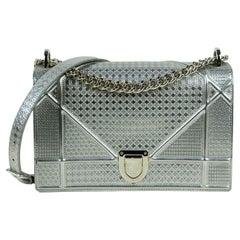 Christian Dior Silver Leather Metallic Micro-Cannage Medium Diorama Flap Bag