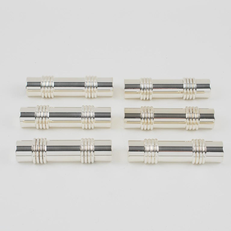 French Christian Dior Silver Plate Chopstick Knife Rests, 6 pieces in Box