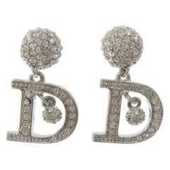 Christian Dior Silver Rhinestone 'D' Logo Charm Dangle Drop Evening Earrings