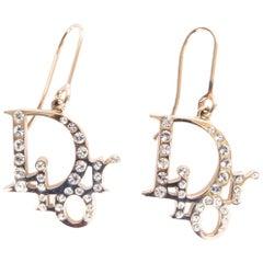 CHRISTIAN DIOR silver tone RHINESTONE LOGO Earrings