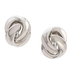 Christian Dior Silver Twisted Earrings