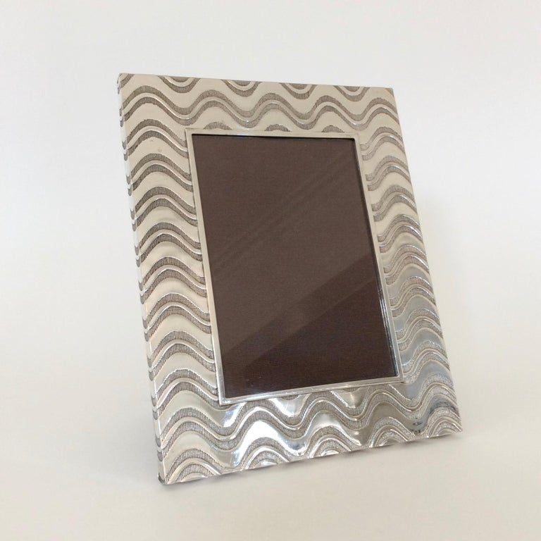 Mid-Century Modern Christian Dior Silvered Metal Picture Frame, circa 1970, France For Sale
