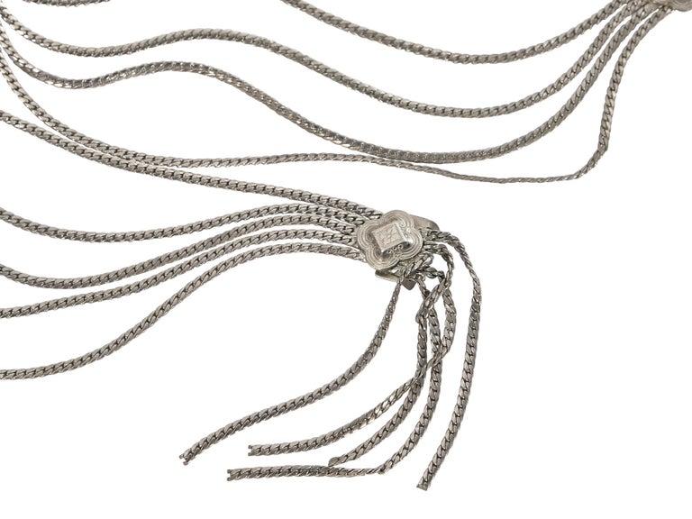 Gray Christian Dior Silvertone Multi-Chain Belt For Sale