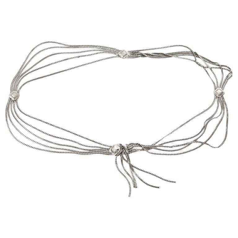 Christian Dior Silvertone Multi-Chain Belt For Sale