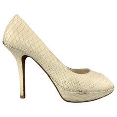 CHRISTIAN DIOR Size 9 Cream Snake Skin Peep Toe Platform Pumps