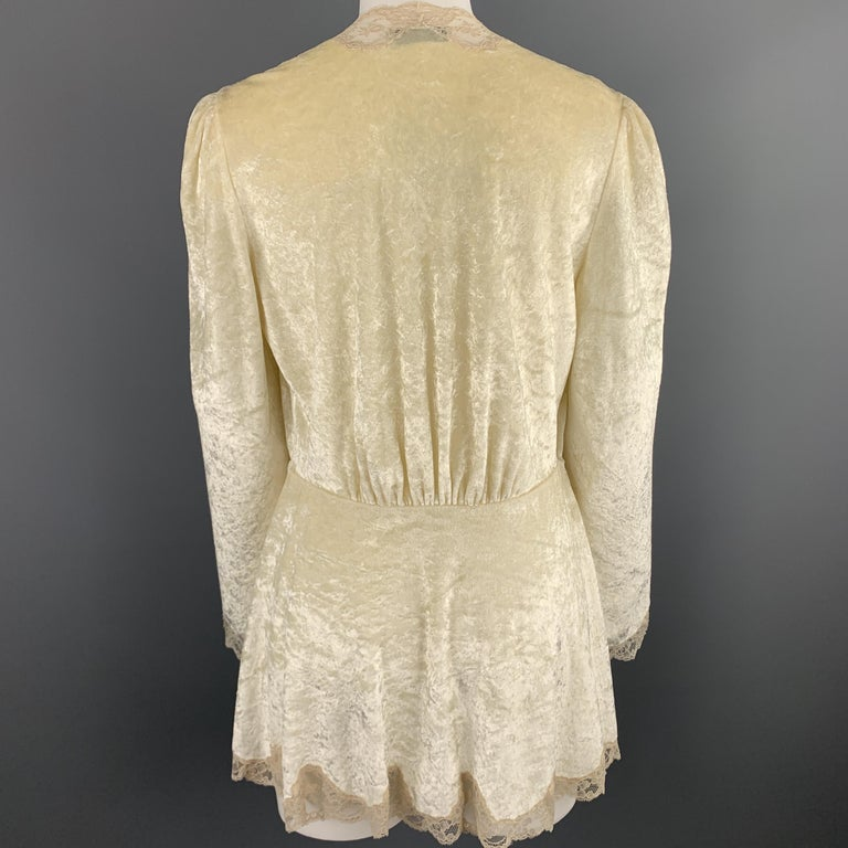 CHRISTIAN DIOR Size M Cream Crushed Velvet Lce Trim Cropped Robe Top For Sale 1