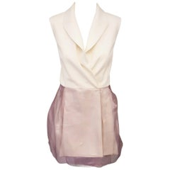 Christian Dior Sleeveless Ivory and Lavender Silk Wrap Dress Size 10 US