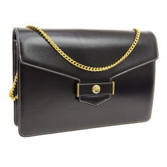 Christian Dior Small Black Leather Gold 2 in 1 Clutch Shoulder Flap Bag