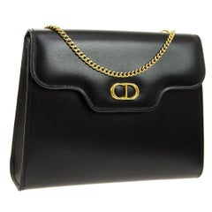 Christian Dior Small Black Leather Gold 2 in 1 Clutch Shoulder Flap Bag in Box