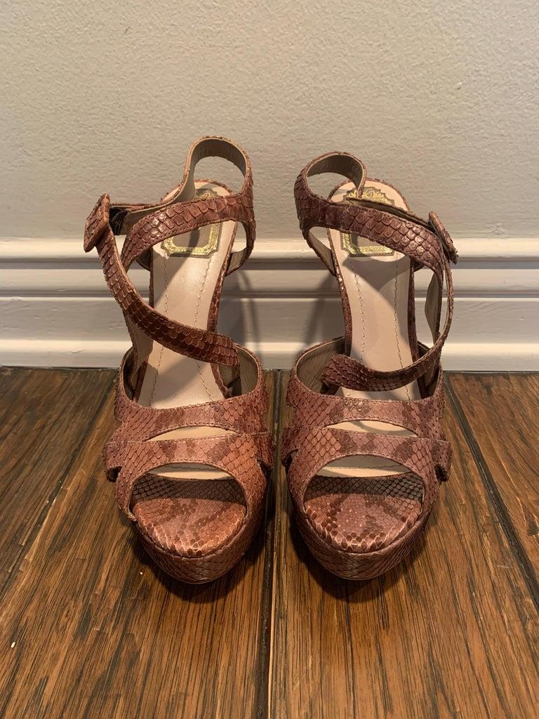Women's or Men's Christian Dior Snake Skin Brown Cross Strap Platforms Size 40  For Sale