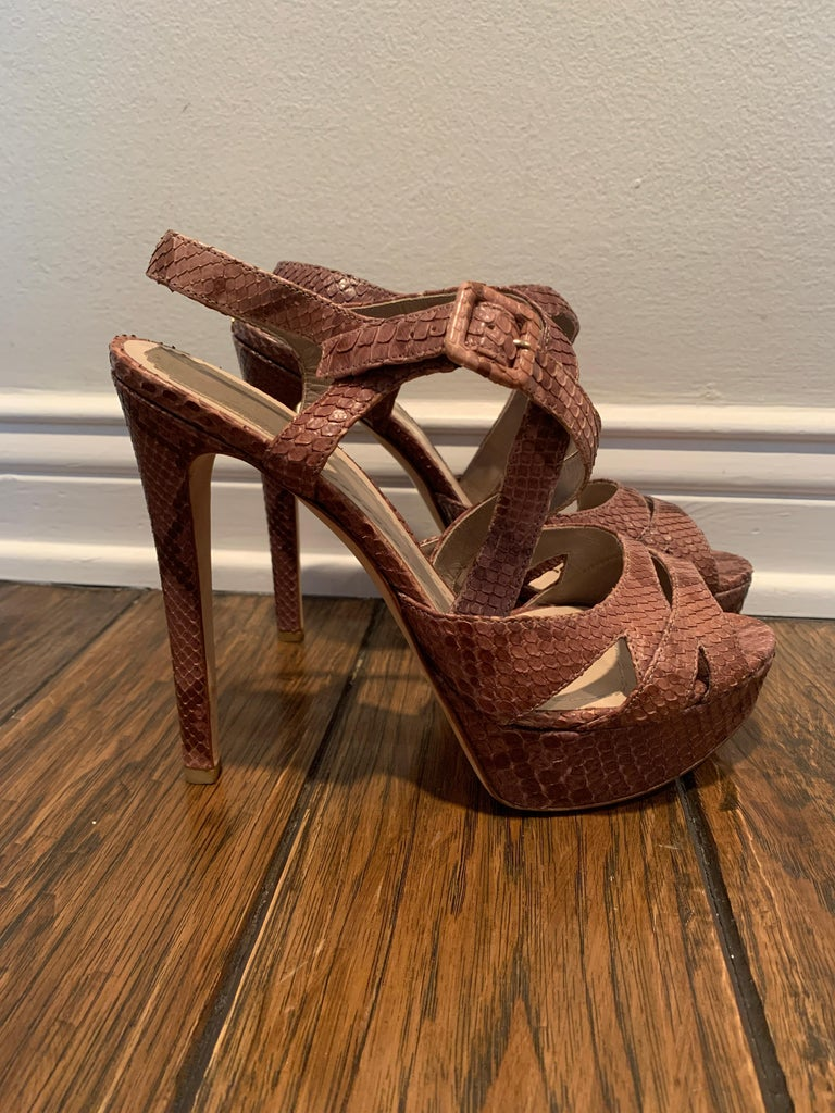 Christian Dior Snake Skin Brown Cross Strap Platforms Size 40  For Sale 1