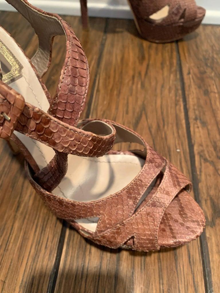 Christian Dior Snake Skin Brown Cross Strap Platforms Size 40  For Sale 3