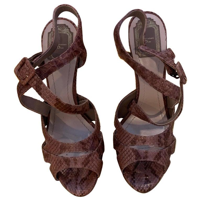 Christian Dior Snake Skin Brown Cross Strap Platforms Size 40  For Sale