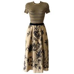 Christian Dior SS 2020 Flower Natural Dior Tussah Silk Skirt with Raphia