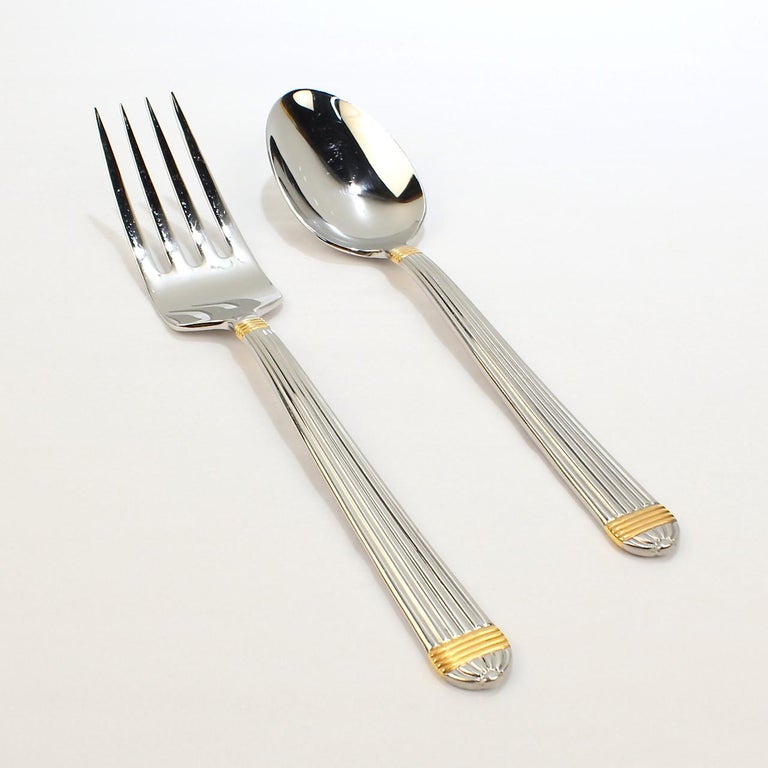 Christian Dior Stainless Steel Gaudron Flatware with Gold Accent Service for 18 For Sale 6