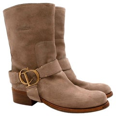 Christian Dior Suede Western CD Buckle Boots 36