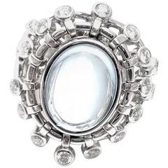 Christian Dior Sultane Diamond Large Aquamarine White Gold Ring
